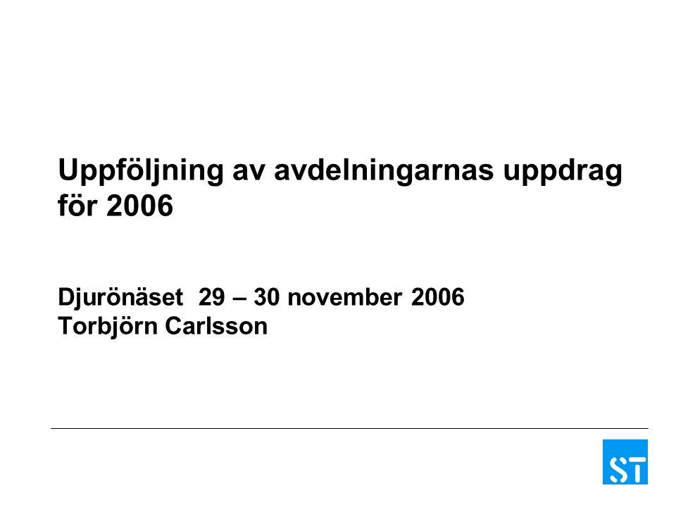 Uppföljning av avdelningarnas uppdrag för 2006 Djurönäset 29 – 30 november 2006 Torbjörn Carlsson