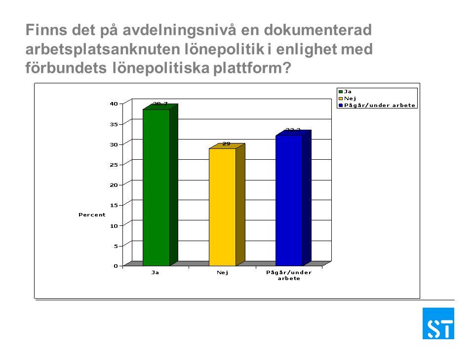 Finns det på avdelningsnivå en dokumenterad arbetsplatsanknuten lönepolitik i enlighet med förbundets lönepolitiska plattform
