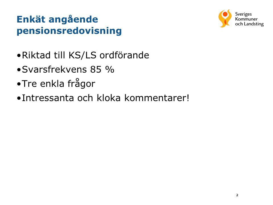 2 Enkät angående pensionsredovisning Riktad till KS/LS ordförande Svarsfrekvens 85 % Tre enkla frågor Intressanta och kloka kommentarer!