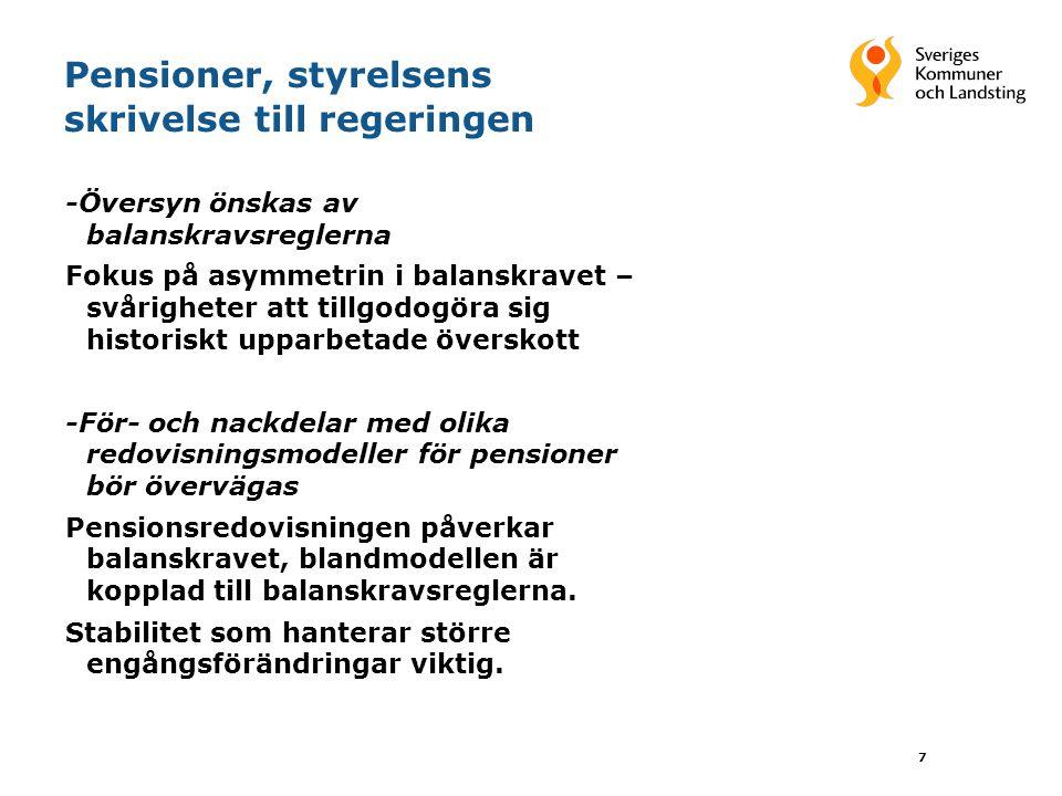 7 Pensioner, styrelsens skrivelse till regeringen -Översyn önskas av balanskravsreglerna Fokus på asymmetrin i balanskravet – svårigheter att tillgodo