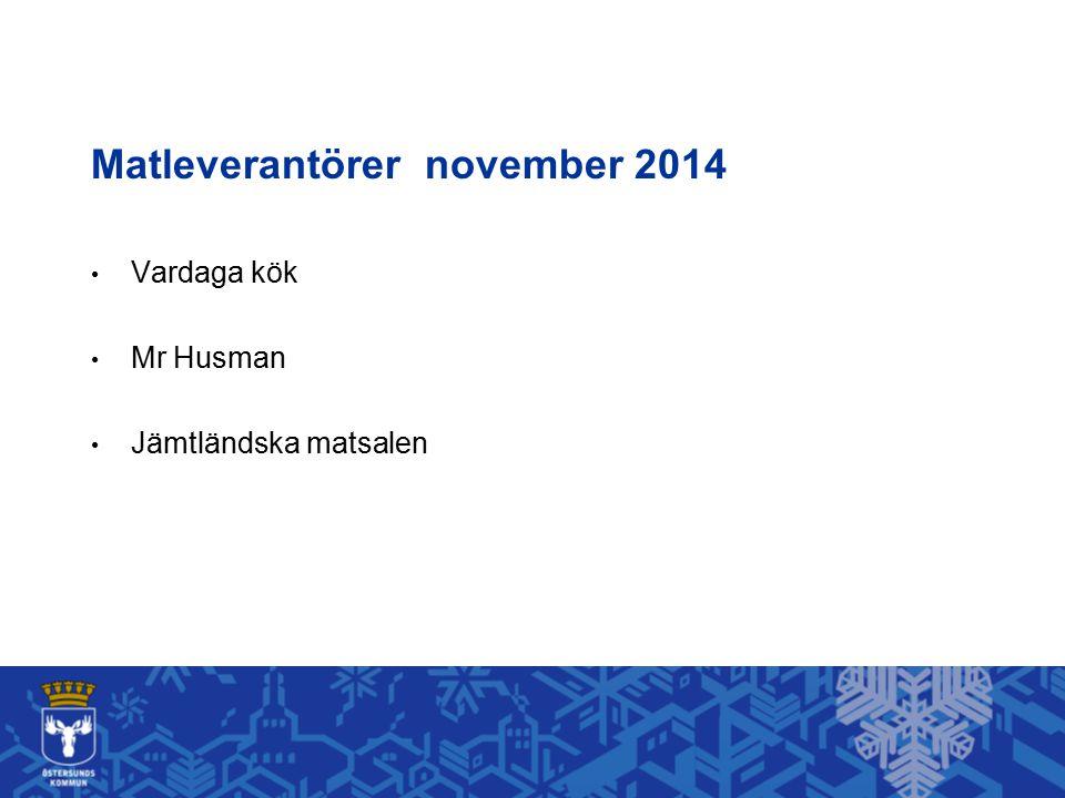 Matleverantörer november 2014 Vardaga kök Mr Husman Jämtländska matsalen