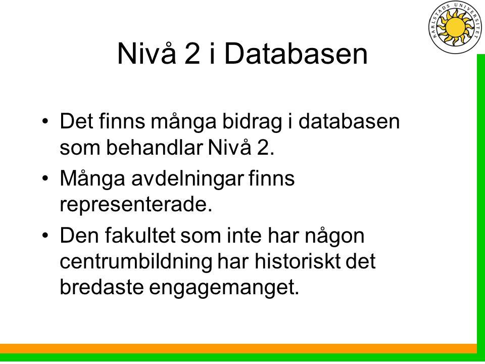 Nivå 2 i Databasen Det finns många bidrag i databasen som behandlar Nivå 2.