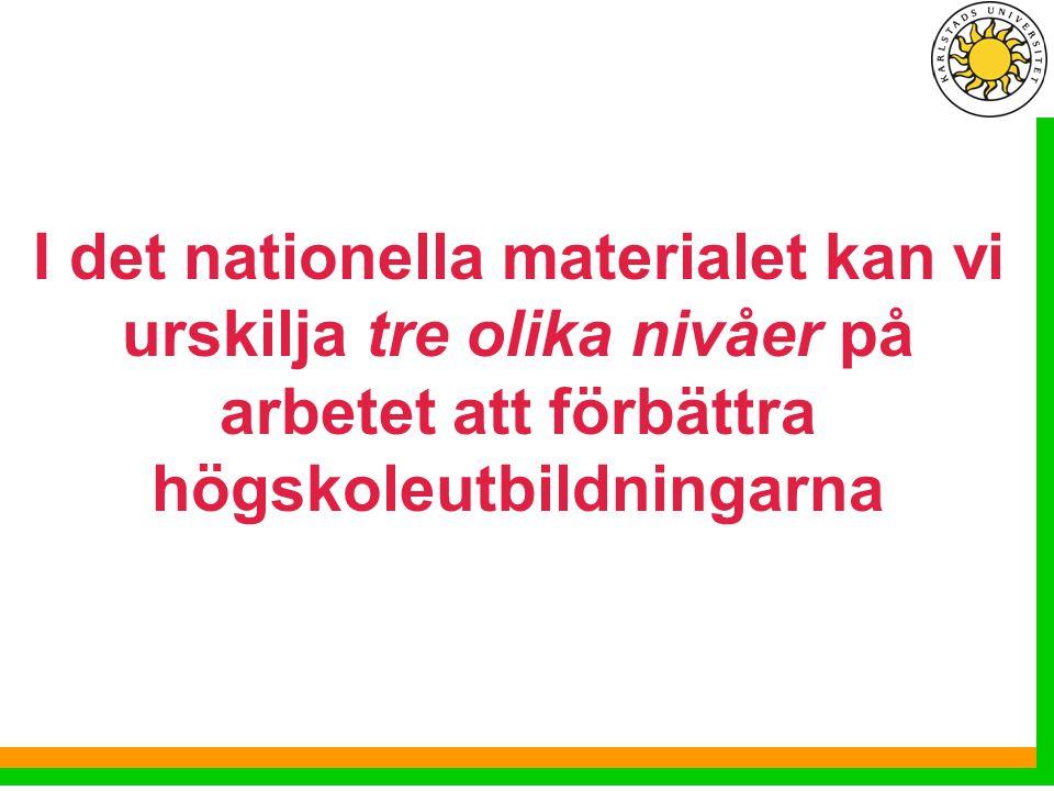 I det nationella materialet kan vi urskilja tre olika nivåer på arbetet att förbättra högskoleutbildningarna