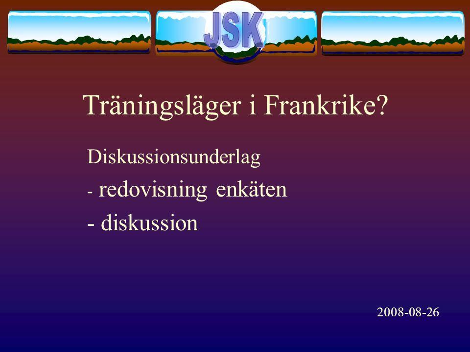 Träningsläger i Frankrike Diskussionsunderlag - redovisning enkäten - diskussion 2008-08-26