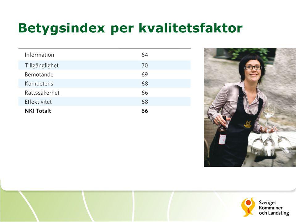 Betygsindex per kvalitetsfaktor