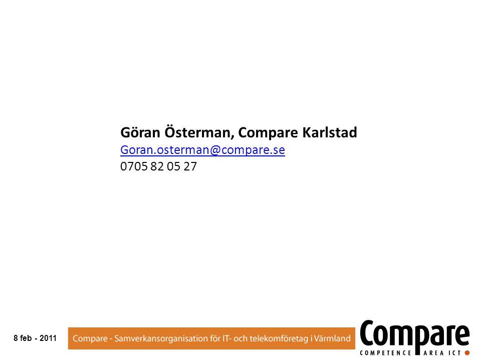 Göran Österman, Compare Karlstad Goran.osterman@compare.se 0705 82 05 27 8 feb - 2011