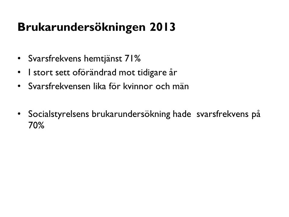 Brukarundersökningen 2013 Svarsfrekvens hemtjänst 71% I stort sett oförändrad mot tidigare år Svarsfrekvensen lika för kvinnor och män Socialstyrelsen