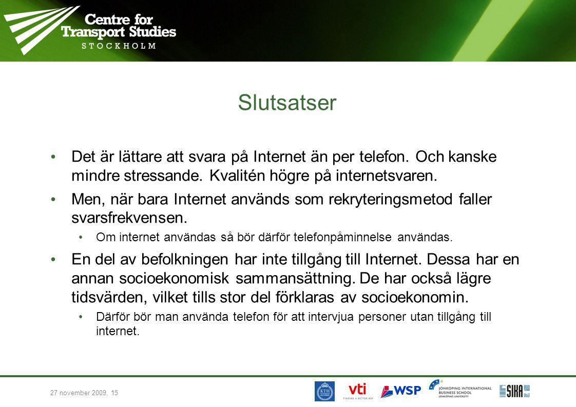 27 november 2009, 15 Slutsatser Det är lättare att svara på Internet än per telefon. Och kanske mindre stressande. Kvalitén högre på internetsvaren. M