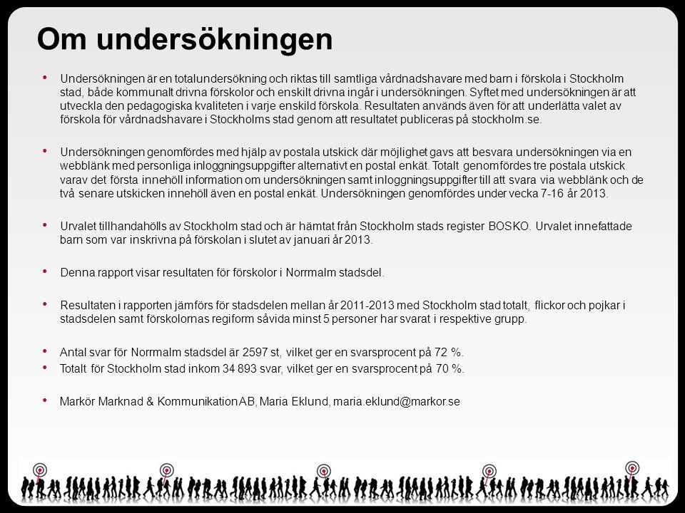 Om undersökningen Undersökningen är en totalundersökning och riktas till samtliga vårdnadshavare med barn i förskola i Stockholm stad, både kommunalt drivna förskolor och enskilt drivna ingår i undersökningen.