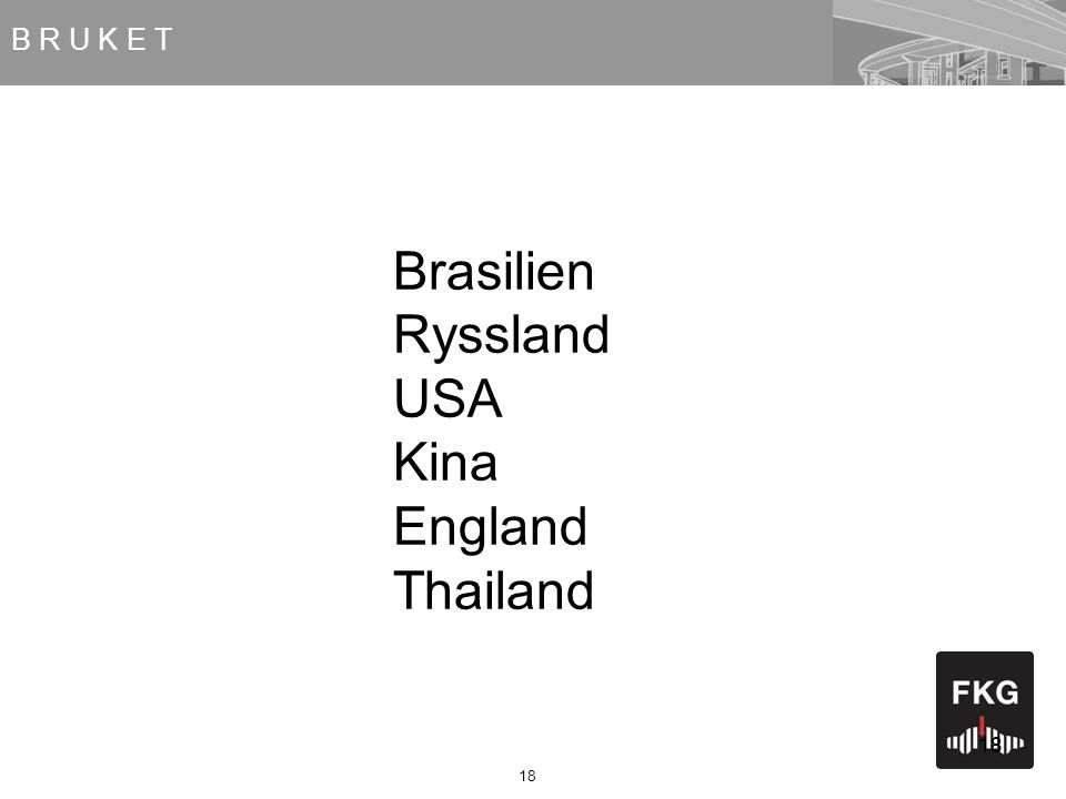 18 Brasilien Ryssland USA Kina England Thailand B R U K E T