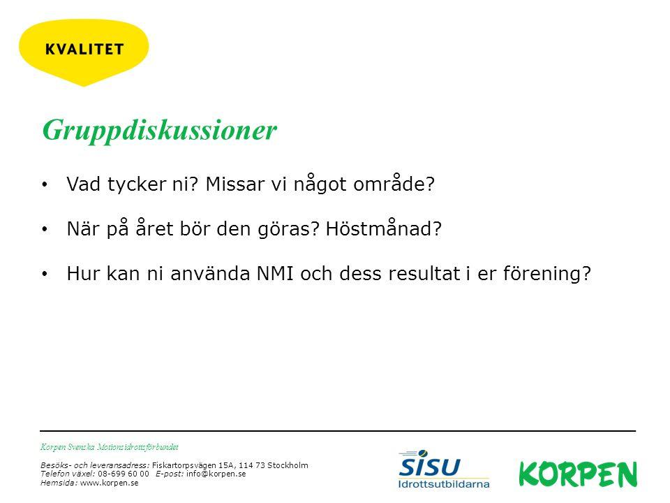Korpen Svenska Motionsidrottsförbundet Besöks- och leveransadress: Fiskartorpsvägen 15A, 114 73 Stockholm Telefon växel: 08-699 60 00 E-post: info@korpen.se Hemsida: www.korpen.se Gruppdiskussioner Vad tycker ni.