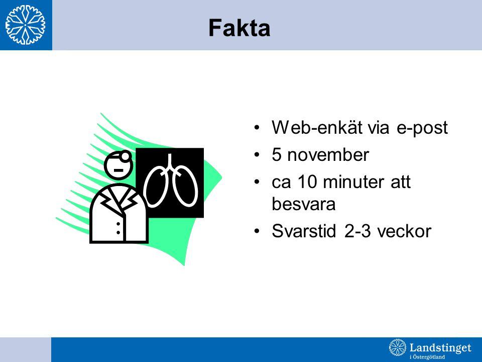 Web-enkät via e-post 5 november ca 10 minuter att besvara Svarstid 2-3 veckor Fakta