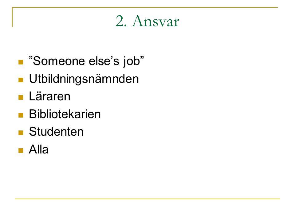 """2. Ansvar """"Someone else's job"""" Utbildningsnämnden Läraren Bibliotekarien Studenten Alla"""