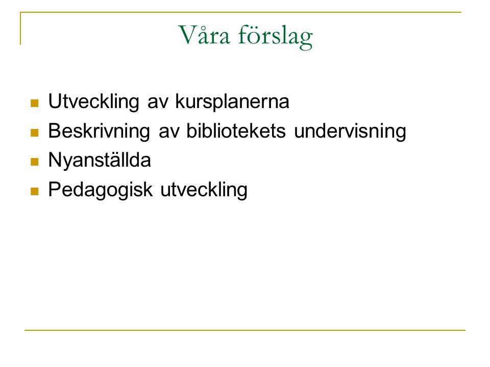 Våra förslag Utveckling av kursplanerna Beskrivning av bibliotekets undervisning Nyanställda Pedagogisk utveckling