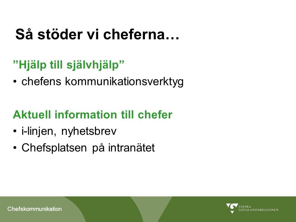 """Chefskommunikation Så stöder vi cheferna… """"Hjälp till självhjälp"""" chefens kommunikationsverktyg Aktuell information till chefer i-linjen, nyhetsbrev C"""