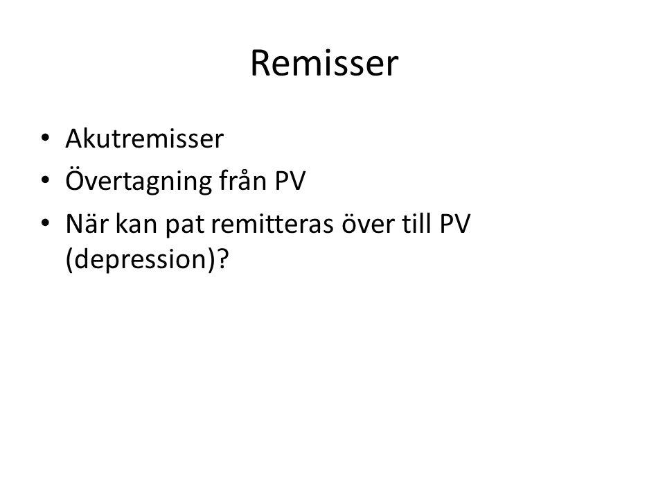 Remisser Akutremisser Övertagning från PV När kan pat remitteras över till PV (depression)?