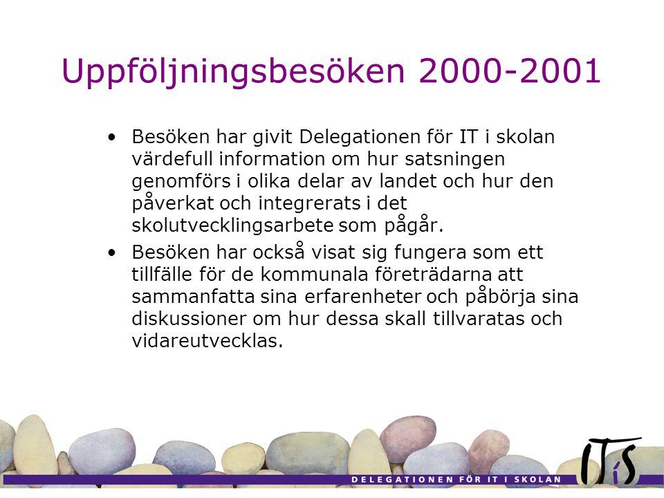 Uppföljningsbesöken 2000-2001 Besöken har givit Delegationen för IT i skolan värdefull information om hur satsningen genomförs i olika delar av landet och hur den påverkat och integrerats i det skolutvecklingsarbete som pågår.