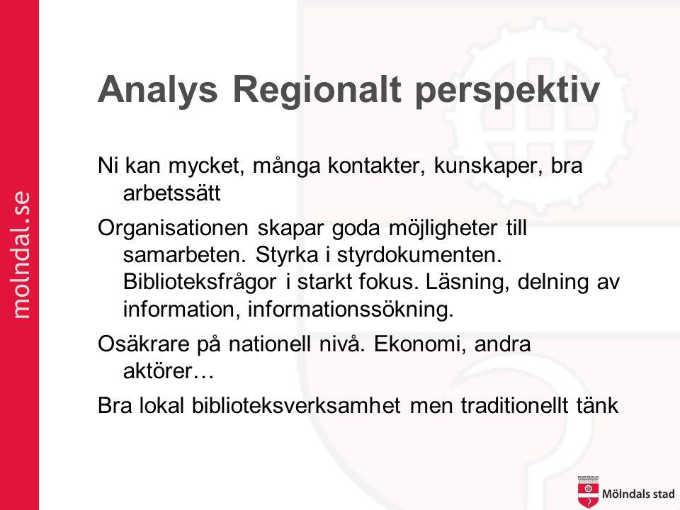 molndal.se Analys Regionalt perspektiv Ni kan mycket, många kontakter, kunskaper, bra arbetssätt Organisationen skapar goda möjligheter till samarbete