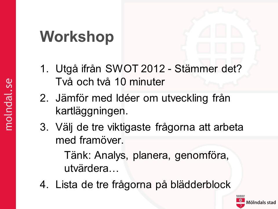 molndal.se Workshop 1.Utgå ifrån SWOT 2012 - Stämmer det? Två och två 10 minuter 2.Jämför med Idéer om utveckling från kartläggningen. 3.Välj de tre v