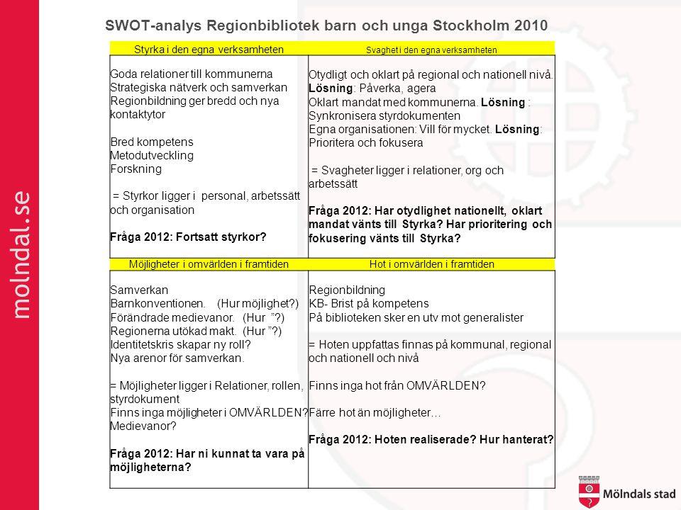 molndal.se Styrka i den egna verksamheten Svaghet i den egna verksamheten Goda relationer till kommunerna Strategiska nätverk och samverkan Regionbild
