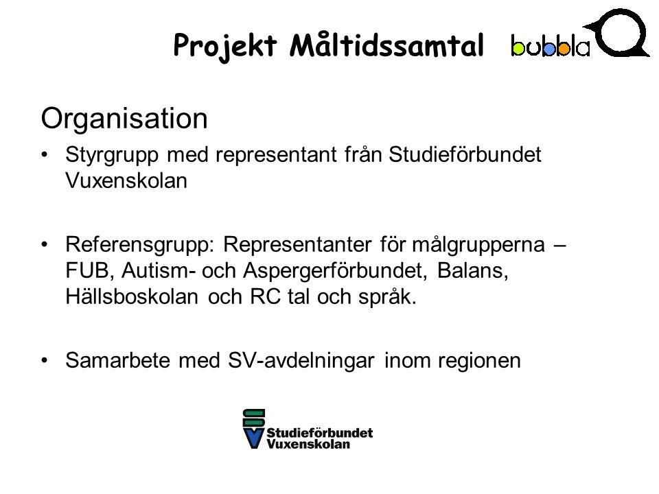 Projekt Måltidssamtal Organisation Styrgrupp med representant från Studieförbundet Vuxenskolan Referensgrupp: Representanter för målgrupperna – FUB, Autism- och Aspergerförbundet, Balans, Hällsboskolan och RC tal och språk.