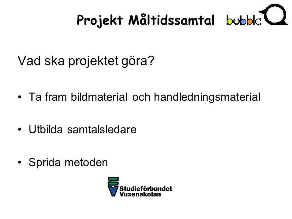 Projekt Måltidssamtal Vad ska projektet göra.