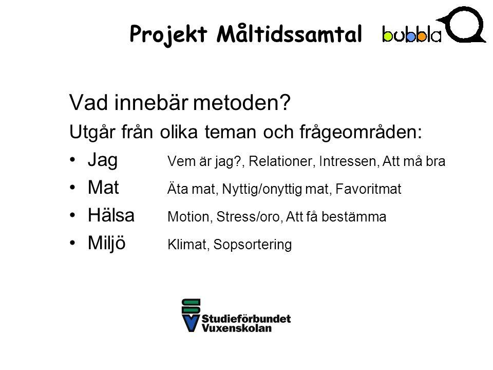 Projekt Måltidssamtal Vad innebär metoden.