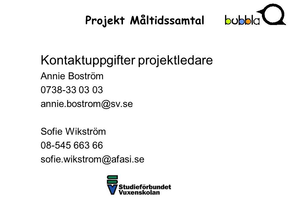 Projekt Måltidssamtal Kontaktuppgifter projektledare Annie Boström 0738-33 03 03 annie.bostrom@sv.se Sofie Wikström 08-545 663 66 sofie.wikstrom@afasi.se