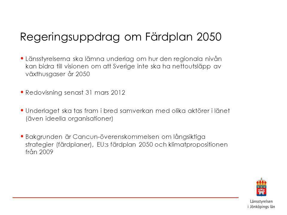 Regeringsuppdrag om Färdplan 2050 Länsstyrelserna ska lämna underlag om hur den regionala nivån kan bidra till visionen om att Sverige inte ska ha nettoutsläpp av växthusgaser år 2050 Redovisning senast 31 mars 2012 Underlaget ska tas fram i bred samverkan med olika aktörer i länet (även ideella organisationer) Bakgrunden är Cancun-överenskommelsen om långsiktiga strategier (färdplaner), EU:s färdplan 2050 och klimatpropositionen från 2009