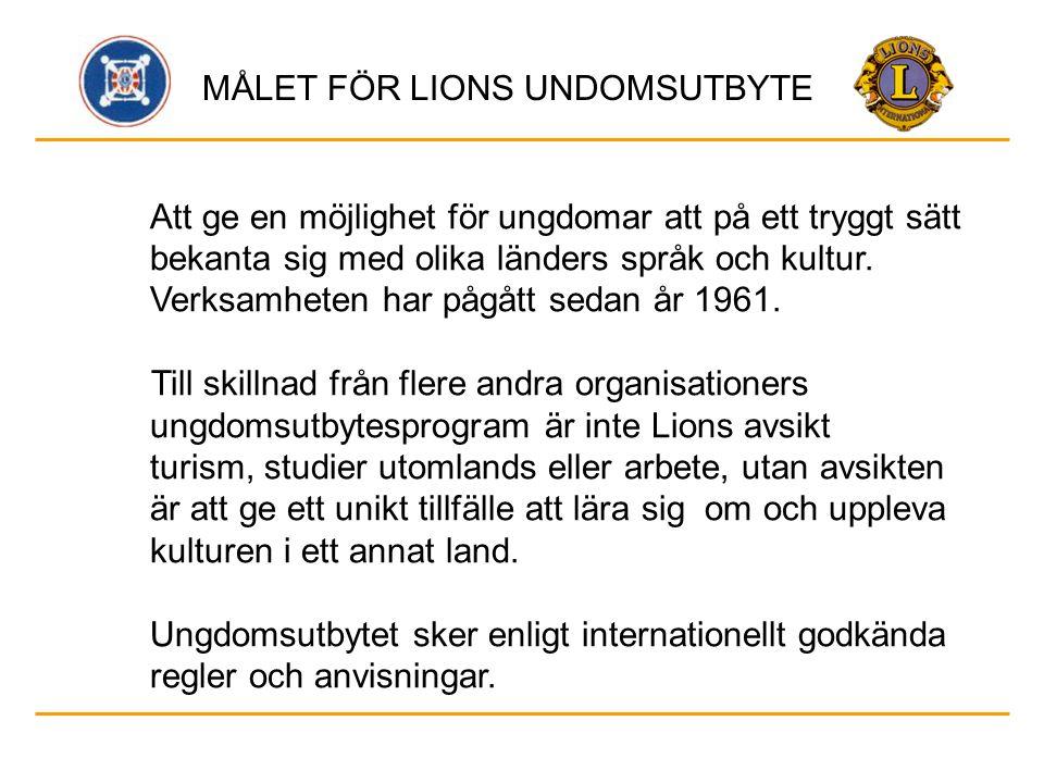 Lions internationella villkor för deltagarena är: - ålder 16 - 21 år - minst nöjaktiga kunskaper i engelska eller nöjaktiga kunskaper i mottagarlandets språk - förmåga att kunna representera både Lions och Finland - anpassningsbar, social och öppen samt motiverad att resa.