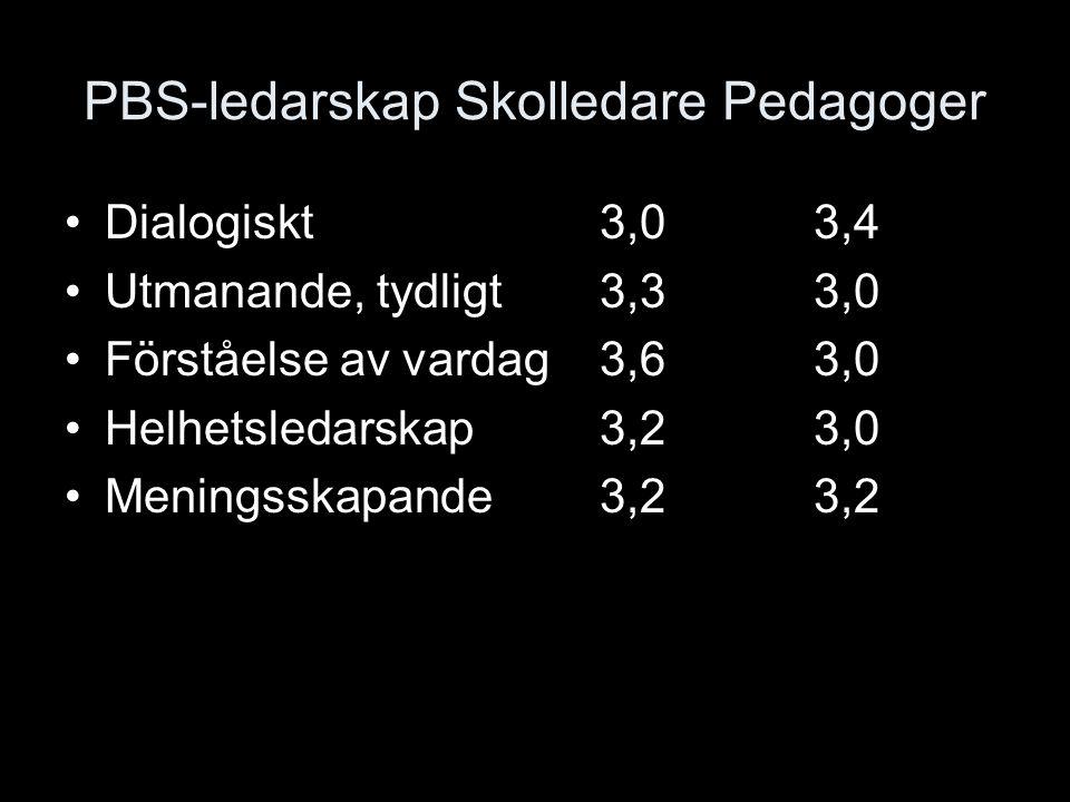 PBS-ledarskap Skolledare Pedagoger Dialogiskt3,03,4 Utmanande, tydligt3,33,0 Förståelse av vardag3,63,0 Helhetsledarskap3,23,0 Meningsskapande3,23,2