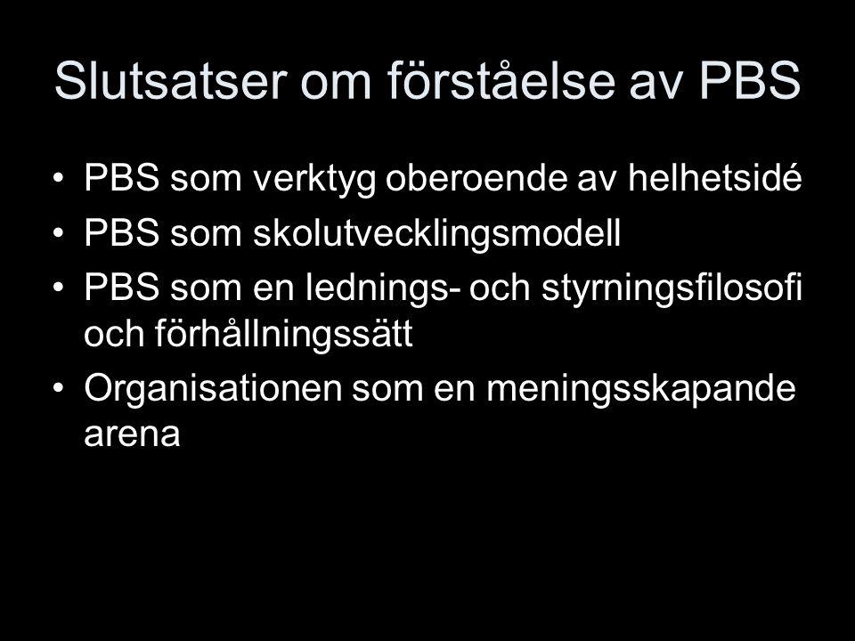 Slutsatser om förståelse av PBS PBS som verktyg oberoende av helhetsidé PBS som skolutvecklingsmodell PBS som en lednings- och styrningsfilosofi och f