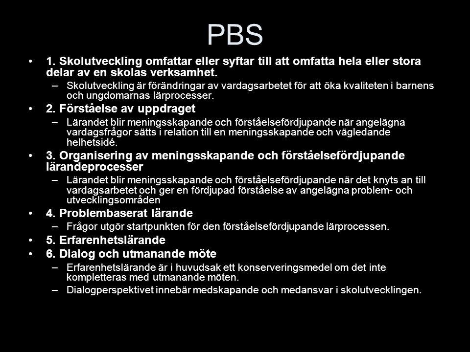 PBS 1. Skolutveckling omfattar eller syftar till att omfatta hela eller stora delar av en skolas verksamhet. –Skolutveckling är förändringar av vardag