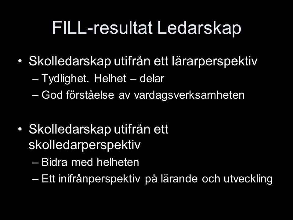 FILL-resultat Ledarskap Skolledarskap utifrån ett lärarperspektiv –Tydlighet. Helhet – delar –God förståelse av vardagsverksamheten Skolledarskap utif