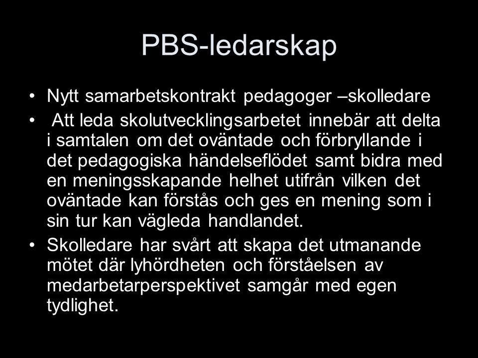 PBS-ledarskap Nytt samarbetskontrakt pedagoger –skolledare Att leda skolutvecklingsarbetet innebär att delta i samtalen om det oväntade och förbryllan