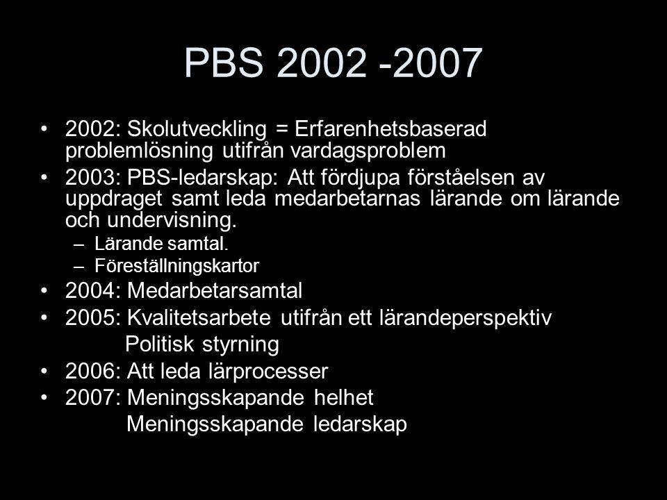 PBS 2002 -2007 2002: Skolutveckling = Erfarenhetsbaserad problemlösning utifrån vardagsproblem 2003: PBS-ledarskap: Att fördjupa förståelsen av uppdra
