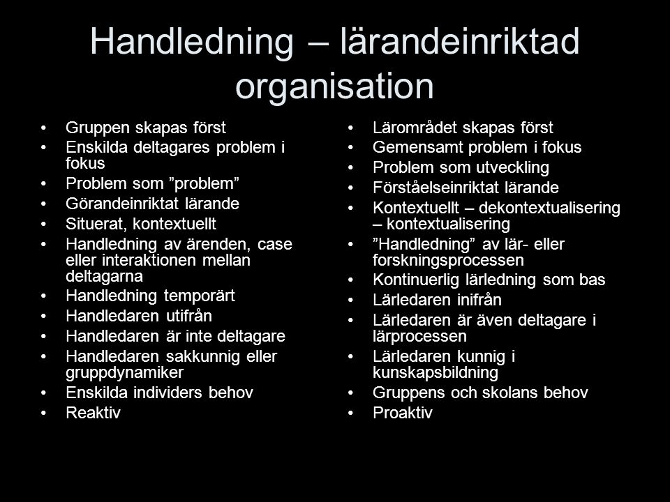 """Handledning – lärandeinriktad organisation Gruppen skapas först Enskilda deltagares problem i fokus Problem som """"problem"""" Görandeinriktat lärande Situ"""