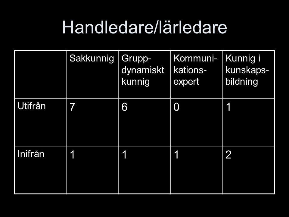 Handledare/lärledare SakkunnigGrupp- dynamiskt kunnig Kommuni- kations- expert Kunnig i kunskaps- bildning Utifrån 7601 Inifrån 1112