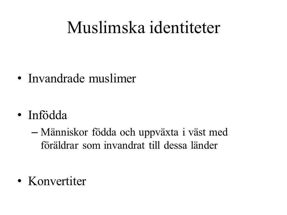 Muslimska identiteter Invandrade muslimer Infödda – Människor födda och uppväxta i väst med föräldrar som invandrat till dessa länder Konvertiter