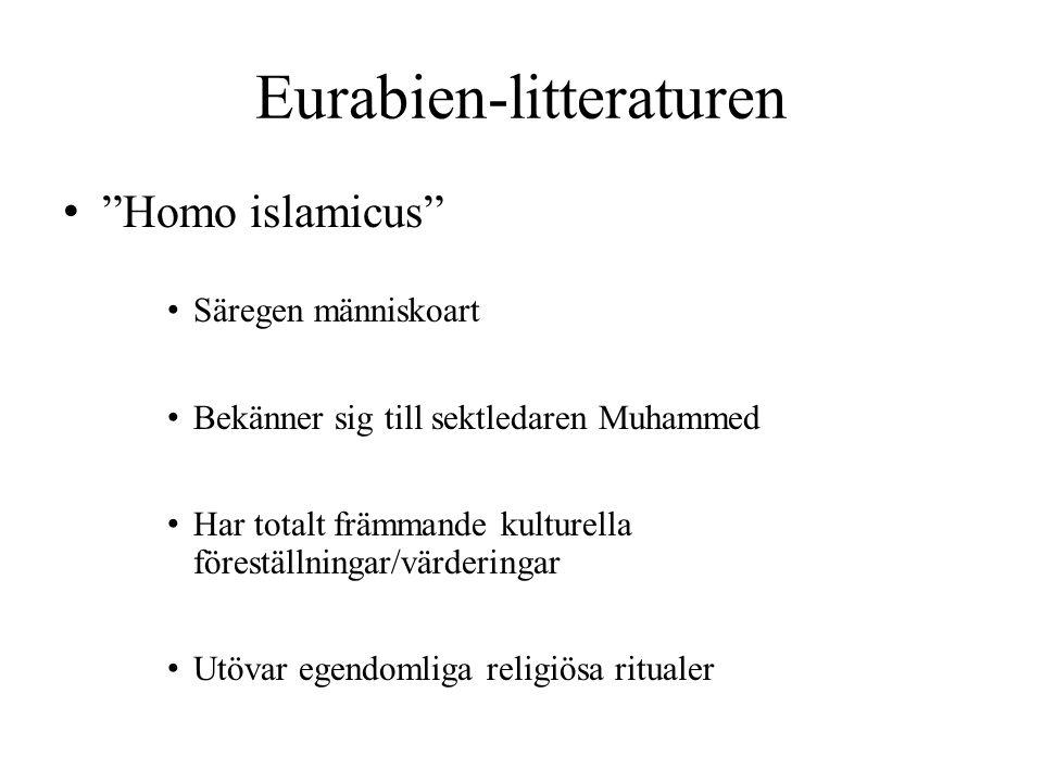 """Eurabien-litteraturen """"Homo islamicus"""" Säregen människoart Bekänner sig till sektledaren Muhammed Har totalt främmande kulturella föreställningar/värd"""