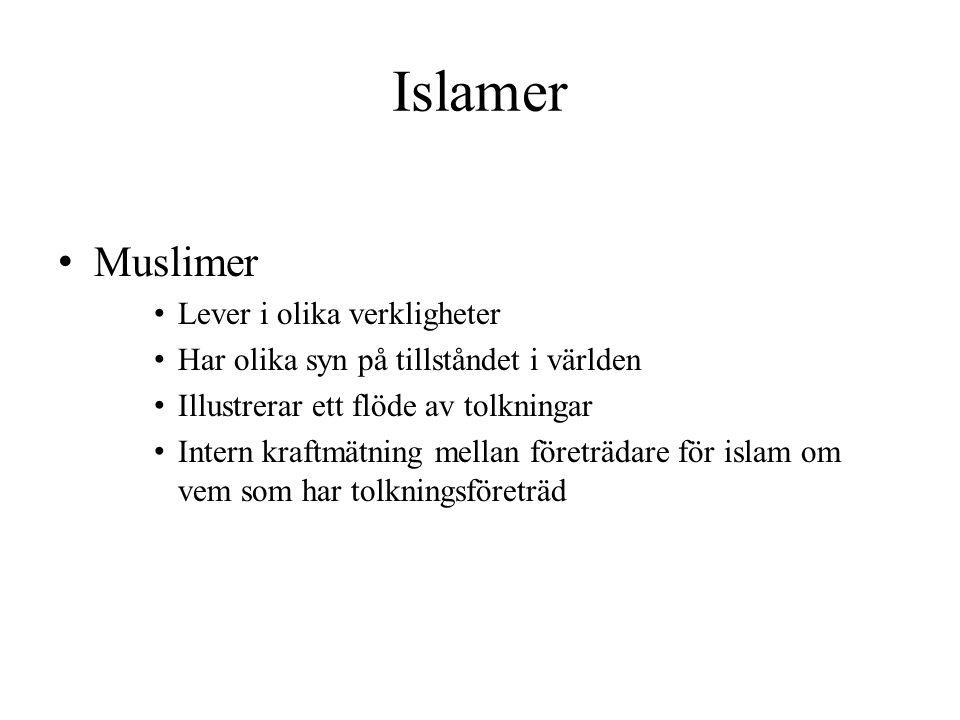 Islamer Muslimer Lever i olika verkligheter Har olika syn på tillståndet i världen Illustrerar ett flöde av tolkningar Intern kraftmätning mellan före
