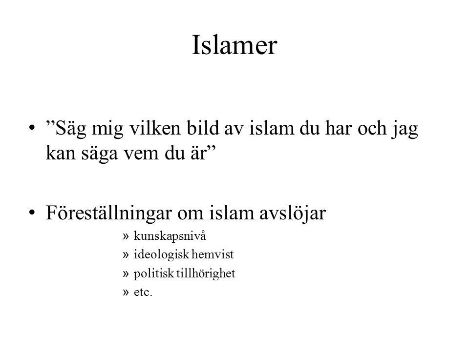"""Islamer """"Säg mig vilken bild av islam du har och jag kan säga vem du är"""" Föreställningar om islam avslöjar » kunskapsnivå » ideologisk hemvist » polit"""