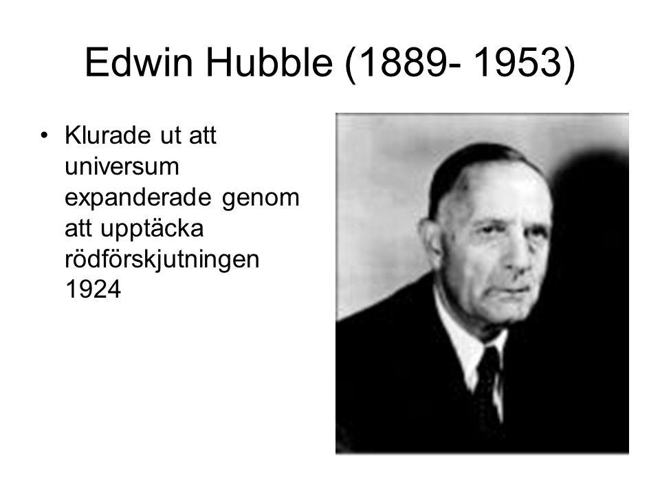 Edwin Hubble (1889- 1953) Klurade ut att universum expanderade genom att upptäcka rödförskjutningen 1924