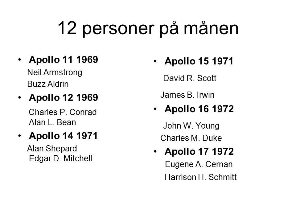 12 personer på månen Apollo 11 1969 Neil Armstrong Buzz Aldrin Apollo 12 1969 Charles P. Conrad Alan L. Bean Apollo 14 1971 Alan Shepard Edgar D. Mitc