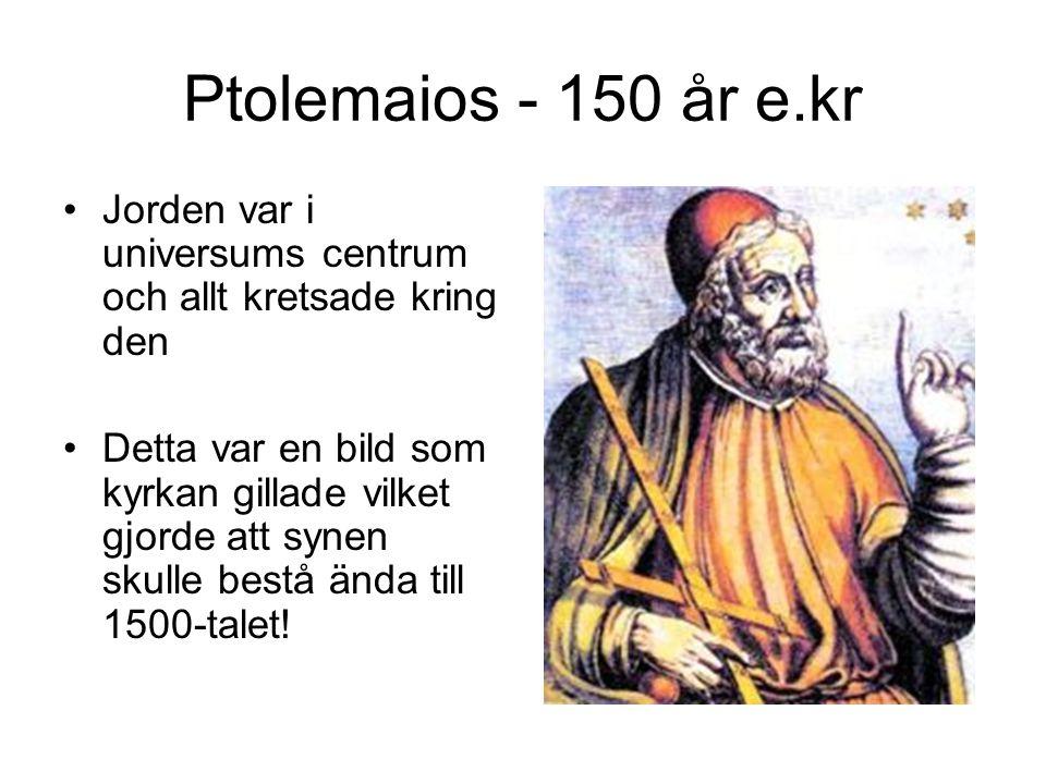 Ptolemaios - 150 år e.kr Jorden var i universums centrum och allt kretsade kring den Detta var en bild som kyrkan gillade vilket gjorde att synen skul