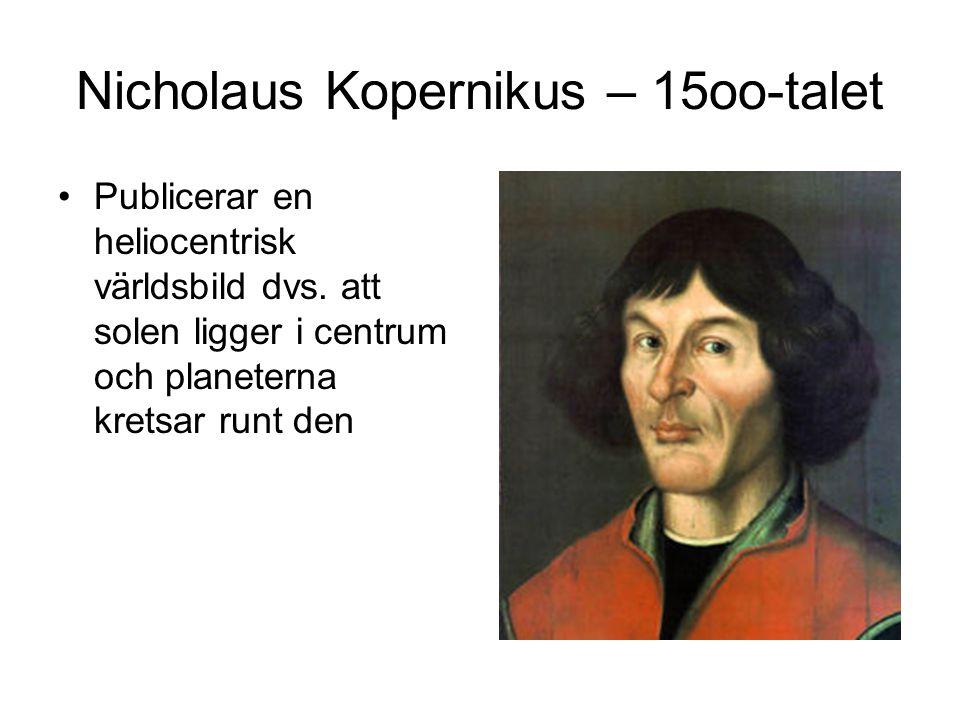 Nicholaus Kopernikus – 15oo-talet Publicerar en heliocentrisk världsbild dvs. att solen ligger i centrum och planeterna kretsar runt den