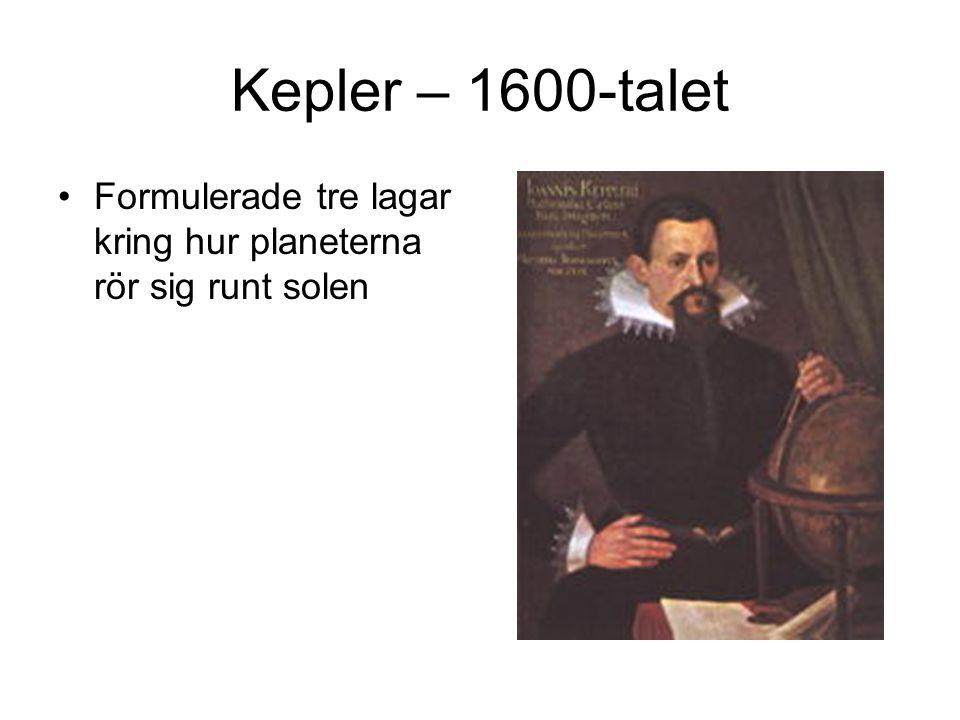 Kepler – 1600-talet Formulerade tre lagar kring hur planeterna rör sig runt solen