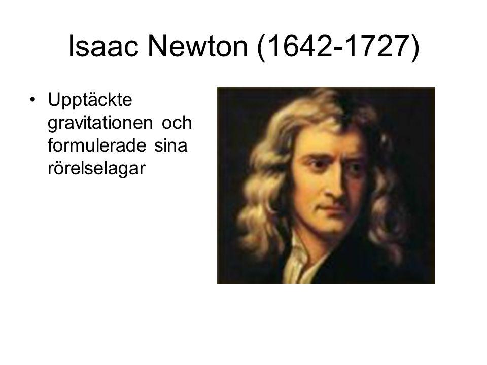 Isaac Newton (1642-1727) Upptäckte gravitationen och formulerade sina rörelselagar