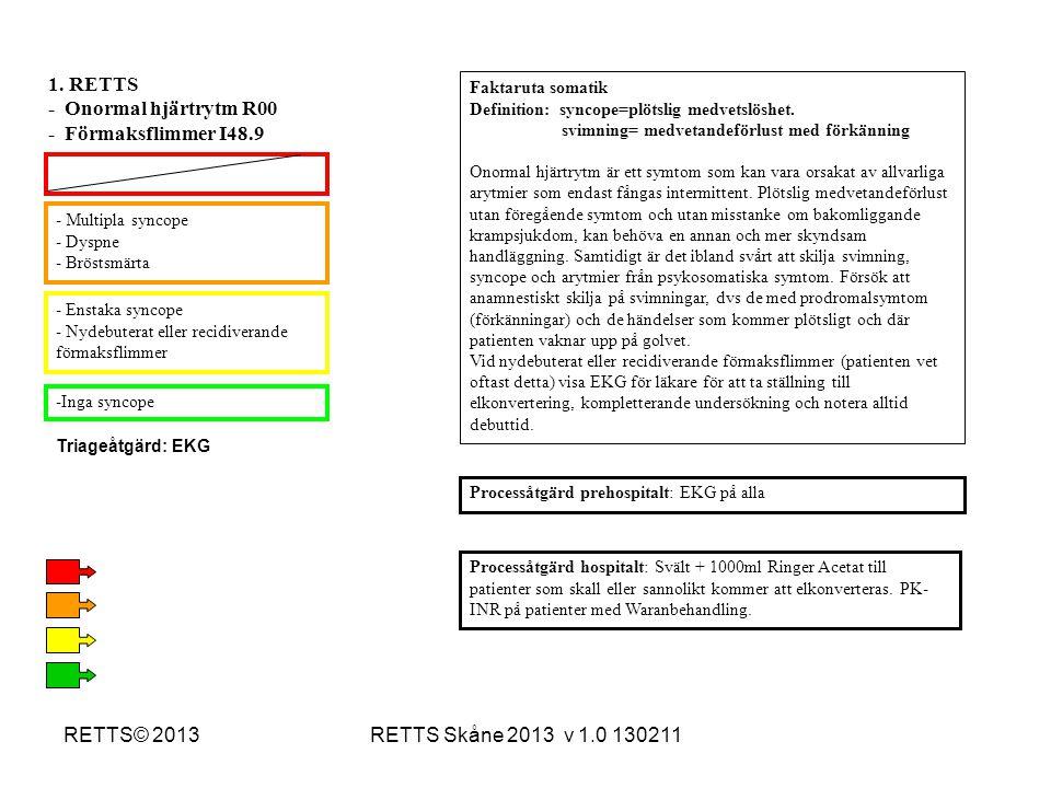 RETTS Skåne 2013 v 1.0 130211RETTS© 2013 - Multipla syncope - Dyspne - Bröstsmärta - Enstaka syncope - Nydebuterat eller recidiverande förmaksflimmer