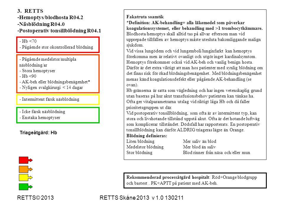 RETTS Skåne 2013 v 1.0 130211RETTS© 2013 3. RETTS -Hemoptys/blodhosta R04.2 -Näsblödning R04.0 -Postoperativ tonsillblödning R04.1 Fakatruta soamtik *